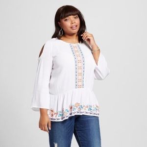 NWT White Long Sleeve ColdShoulder Embroidered Top